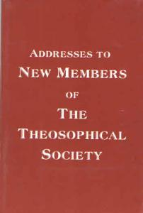 Addresses To New Members of the Theosophical Society Cover